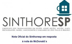 Nota Oficial do Sinthoresp em resposta à nota do McDonald´s