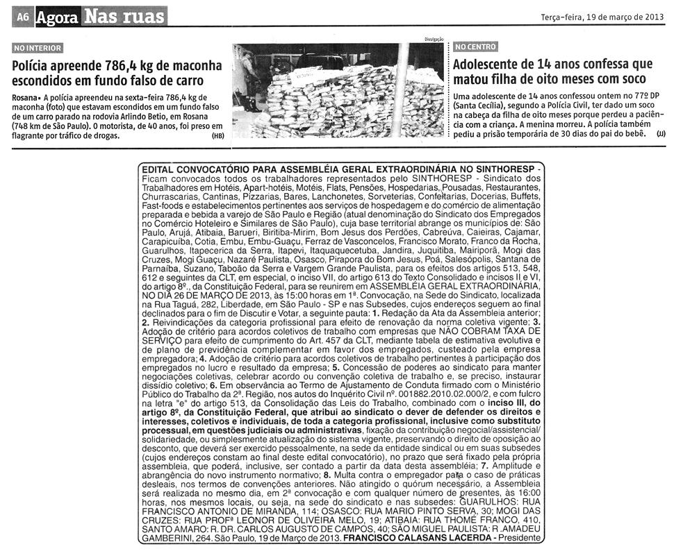 Edital Março 2013 - Assembléia Geral Jornal